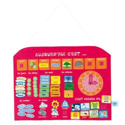 Calendrier avec horloge rose