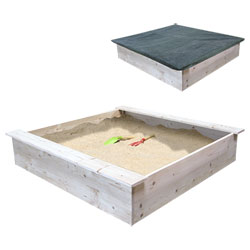 Bac à sable en bois et 2 bâches