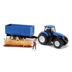 Tracteur New Holland avec remorque et personnage