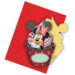 6 Cartes Invitations et 6 Enveloppes Minnie