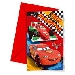 6 Cartes Invitation et Enveloppes Cars Racing Sports Network