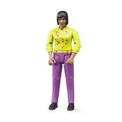 Figurine femme brune avec jean rose