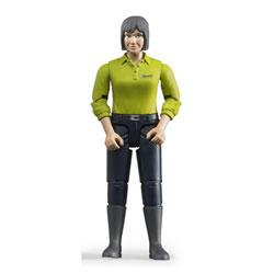 Figurine femme brune avec jean bleu foncé