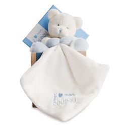 J'aime mon Doudou-Pantin avec doudou ours bleu