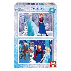 2 puzzles de 48 pièces Reine des Neiges