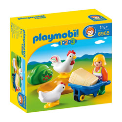 6965-Agricultrice avec brouette et coq - Playmobil 1.2.3