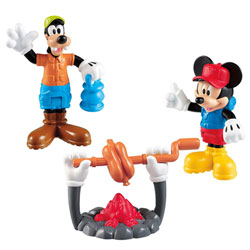 Figurine Mickey et Pluto feu de camp
