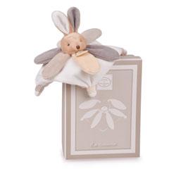 Mini doudou collector lapin gris taupe