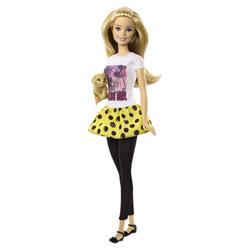 Barbie soeur chiot blonde jupe jaune