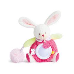 Veilleuse fraise lovely lapin blanc pompom rose