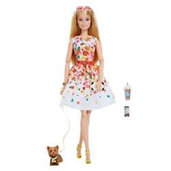 Barbie look Blonde avec robe blanche look printanier