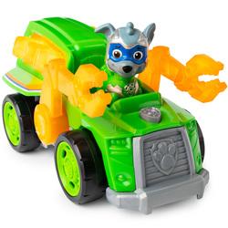Super Pat'Patrouille - Véhicule deluxe et figurine Mighty Pups Rocky