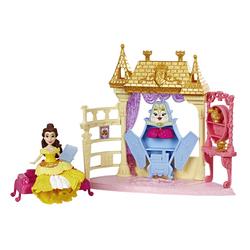 Mini-poupée Belle 8 cm et son décor pailleté - Disney Princesses