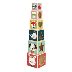 Pyramide 6 Cubes baby forest en bois