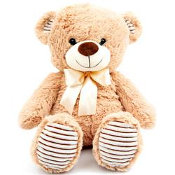 Peluche ours assis avec noeud 35 cm