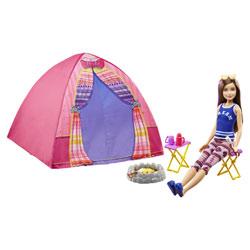 Barbie-Poupée avec tente et accessoires