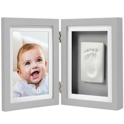 Cadre bureau empreinte de bébé gris
