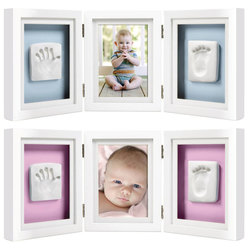Cadre de bureau empreintes de bébé de luxe blanc