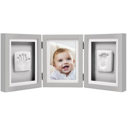 Cadre de bureau empreintes de bébé de luxe gris