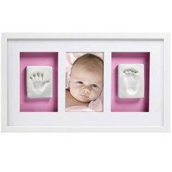 Cadre mural empreintes et photo de bébé blanc
