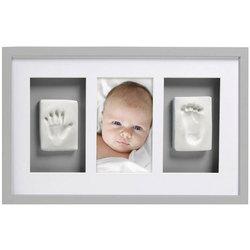 Cadre mural empreintes et photo de bébé gris