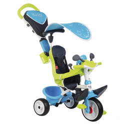 Tricycle baby driver confort 2-roues silencieuses-dispositif roue libre + verrouillage guidon-bleu