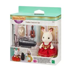 Sylvanian-Figurine fille lapin chocolat violoniste