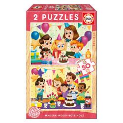 2 puzzles en bois 50 pièces fête d´anniversaire
