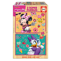 Minnie-2 puzzles en bois de 16 pièces