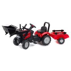 Tracteur à pédales Case IH avec pelle et remorque