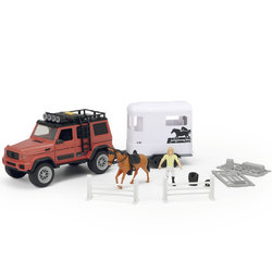 Dickie toys playlife - coffret véhicule et remorque à cheval