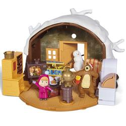 Hutte de masha hiver + 2 figurines et 1 bonhomme de neige