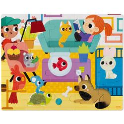 Puzzle tactile 20 pièces les animaux domestiques