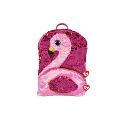 Sac à dos peluche sequins Gilda le flamant rose 35 cm