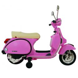 Moto électrique Scooter Vespa 12V rose avec roulettes