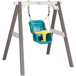 Portique bébé en bois gris avec siège