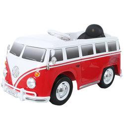 Véhicule électrique Combi Volkswagen T2 6V rouge avec télécommande