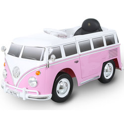 Véhicule électrique Combi Volkswagen T2 6V rose avec télécommande
