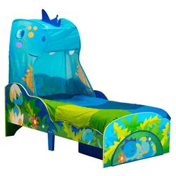 Lit pour enfant dinosaure avec ciel de lit et tiroir de rangement