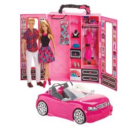 Barbie - Cabriolet avec dressing et poupées Barbie et Ken