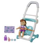 Poupon Littles roux et sa poussette jumeaux bleu - Baby Alive