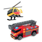 Camion de pompier ou hélicoptère de secours lumineux et sonore