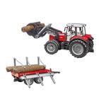 Tracteur Massey Fergusson avec fourche et remorque