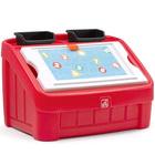 Coffre à jouets et table pour dessiner rouge