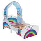 Lit pour enfant licornes et arcs-en-ciel avec ciel de lit et tiroir de rangement