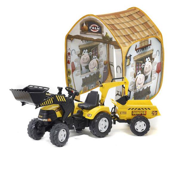 Tracteur Power avec excavatrice et remorque