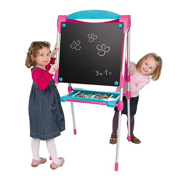 Tableau des grands - ardoise double face - magnétique/craie - 80 accessoires - rose