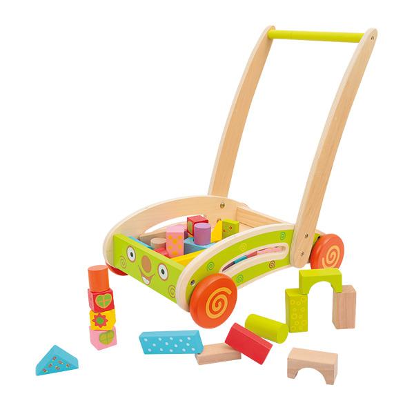 Chariot bois avec 40 blocs construction
