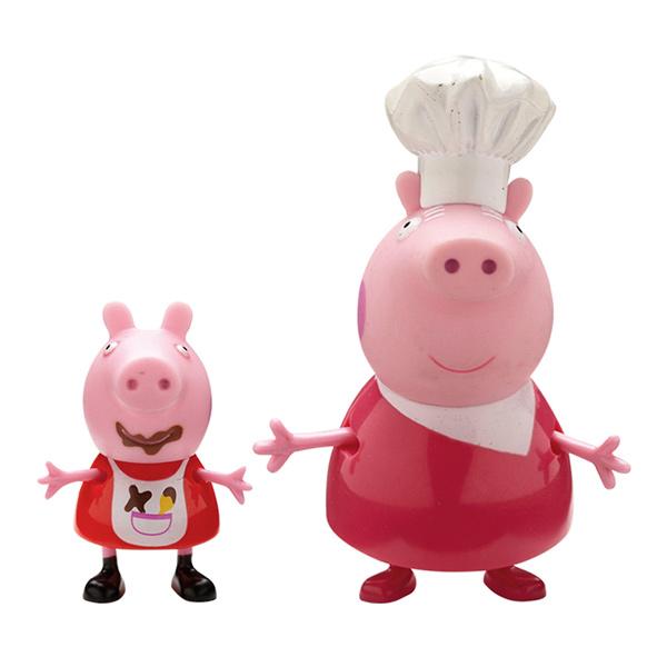 Peppa Blister 2 Figurines Mamy Pig & Peppa tenue de cuisine