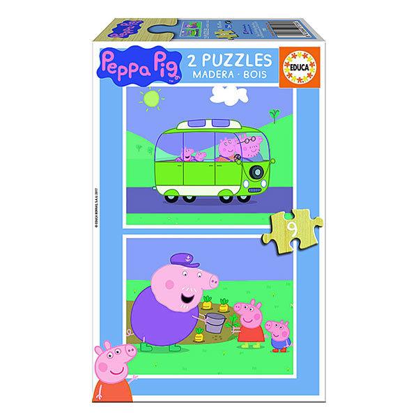 2 puzzles en bois de 9 pièces Peppa Pig